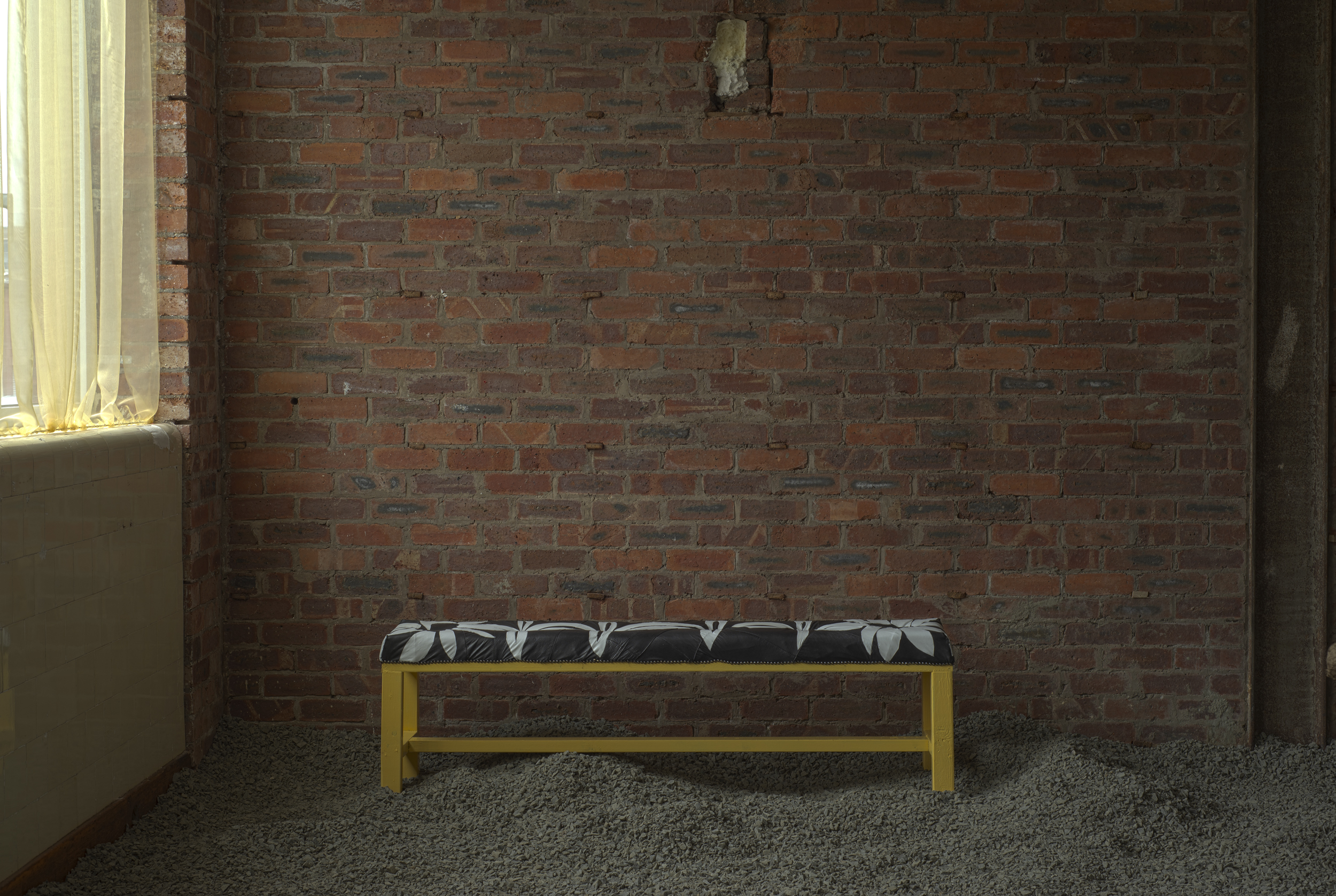 Lessons from the Leather Bench, Leather, Foam, Wood, Studs, Paint, 178x50x35cm, 2021