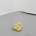 Jo Coupe, Clart, 2012, Blu-Tack, 23 carat gold leaf, lab-grown synthetic gemstones